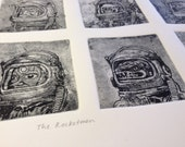 Intaglio Copper Original Etching Print Rocketmen complete series