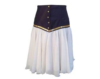 Vintage High Waisted Navy Skirt, Marine Skirt, gift under 20, gift for her