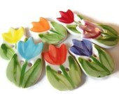 ONE Handmade Tulip Flower Ceramic Sewing Buttons, Spring Whimsical Floral, Pink, Purple, Orange, Red, Yellow, Blue, Coral Children's Novelty