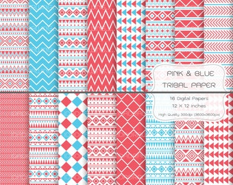 Tribal Digital Paper -  Pink & Blue Tribal Digital Paper - Tribal Background - Geometric Pattern - Geometry Digital Paper - Scrapbook Paper
