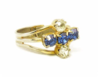 Gold and Silver Split Band Ring with Cobalt Blue and Clear Rhinestones - Adjustable