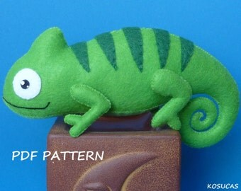 PDF sewing pattern to make a felt chameleon