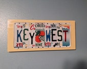 KEY WEST Custom Recycled License Plate Art Sign Plaque Wall Hanging OOAK