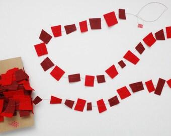 Felt Garland, Red Confetti Garland, Geometric Garland, Felt Party Garland,  All Occasion Galrand, Any Occasion Garland, 30ft Long