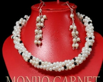 Monochrome Pearl White and Black wedding gift Statement necklace