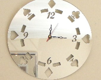 Poker Chip Clock Mirror - 2 Sizes Available