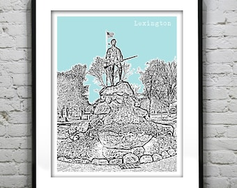 Lexington Massachusetts Skyline Poster Art Print Minuteman Statue MA