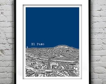 El Paso Texas Santa Fe Bridge from Juarez Mexico Poster Art Print TX Skyline