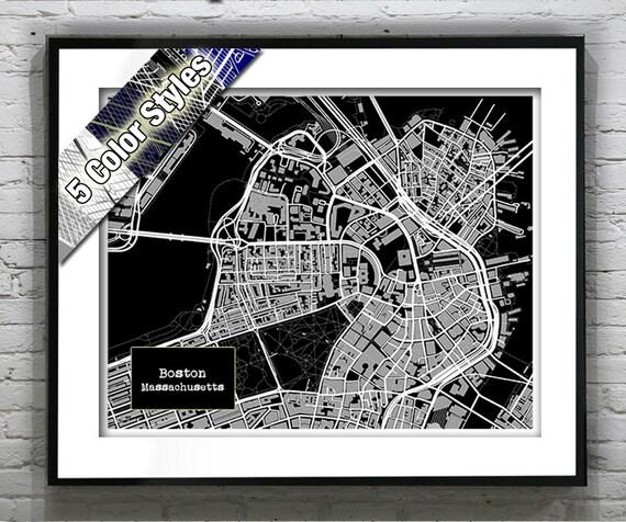 Boston Massachusetts Blueprint Map Poster Art Print Several
