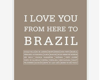 Travel Art Brazil, Travel poster, Travel print