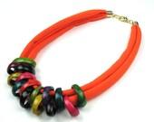 Orange T- Shirt Coconut Statement Necklace,Gift Ideas,For Her,Coconut Rings,Cotton Jersey,Fiber Jewelry,Women's Handmade Jewelry, elle&belle