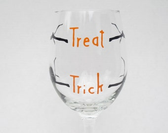 Halloween Trick or Treat Wine Glasses
