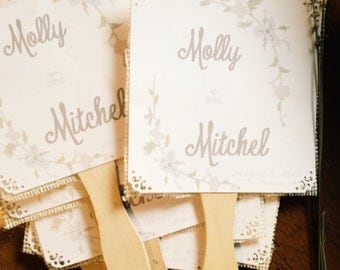 Mint and Gray Wedding Program fans with ivory burlap 50 Fans