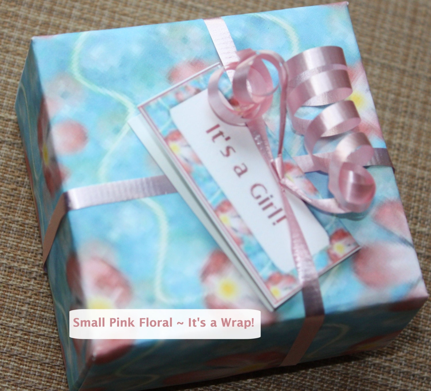Baby gift boxes canada : Pink floral baby gift boxes origami set of