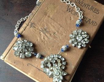 Rhinestone Necklace/ Bridal Necklace/ Vintage Rhinestone Brooch Necklace/ Vintage Assemblage Jewelry/ Vintage Accessories