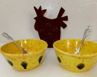 Yellow with Black Spot Prep Bowls, Nesting Bowl Set