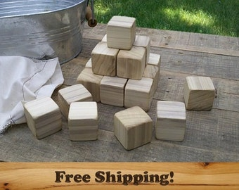 20 Poplar Wood Blocks, All Natural Baby blocks, Baby Shower Activity, 1.5 Inch Square Wooden Building Block Set