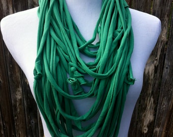 Women's Cotton Scarf in Green- Fall Scarf- Green Scarf- Upcycled Cotton Women's T-shirt Scarf- Handmade 100% Cotton Material