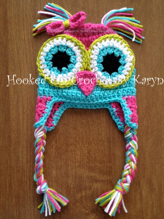 Free Crochet Pattern Multi Colored Hat : Crochet Multi-Color Owl Hat