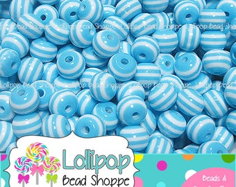 LIGHT BLUE Striped Beads 8mm Stripe Resin Beads Round Gum Ball Beads 50-ct Plastic Stripes Bubblegum Beads Bubble Gum Bead Bottlecap Beads