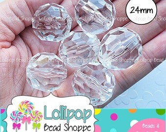 24mm CLEAR Faceted Round Beads Chunky Necklace Beads 6ct Transparent Acrylic Beads Crystal Gumball Beads Bubble Gum Beads Bubblegum Beads