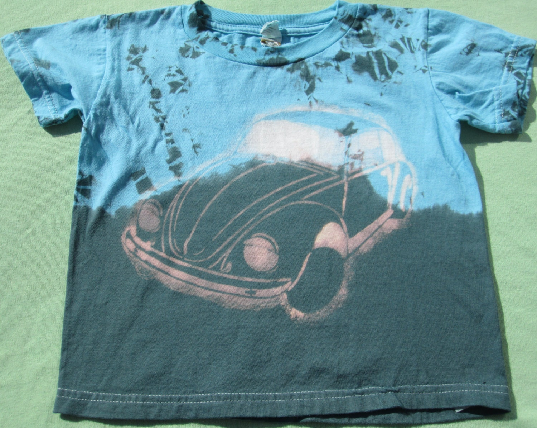 Tie dye toddler t shirt with bleach vw beetle design 3t for Bleach dye shirt instructions