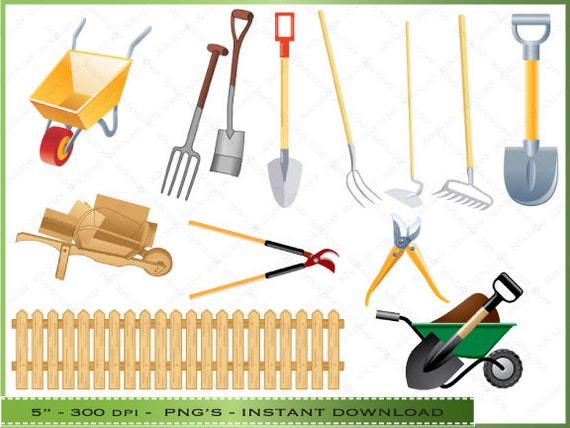 Yard Tools Clip Art : Items similar to garden tools clipart clip art images of