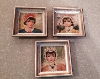 3 Victorian Ladies Framed Pictures