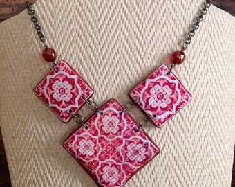 Set, Necklace and earrings, with Portuguese tile replica, and Czech crystal