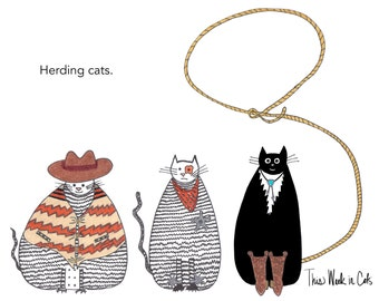 Cat card - Herding Cats Funny Cat Card Western Cats