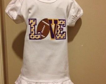LOVE LSU T shirt girls LSU shirt purple and gold shirt Lsu football shirt football shirt Tigers shirt