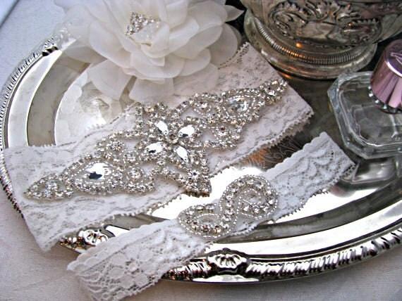 Bridal Garter Set Crystal Rhinestone Keepsake And Toss