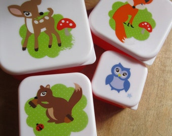 set of 4 nesting plastic storage boxes with good seal woodland animals deer fox squirrel and owl