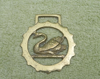 Vintage Cast Brass Horse Harness or Bridle Medallion Decoration, Swan, made in Japan