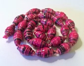 Pink and Black Loose Paper Beads First Anniversary Beading Supplies Handmade Beads Lightweight Beads Up cycled Recycled Repurposed Boho Chic