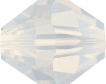 50 Swarovski Crystal Beads 4mm bicone 5328 white opal opalescent
