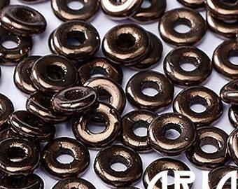 JET BRONZE: O Bead Czech Glass Sequin Ring Bead, Reversible 2x4mm (5 grams)