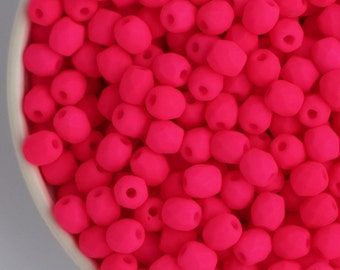 3mm Neon Bright Pink (50pcs) Small Czech Fire Polished UV Active Neon Glass Beads