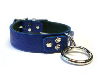 "Blue 1"" Leather BDSM Lockable slave sub Collar with Dee Ring and padlock /locking sub"