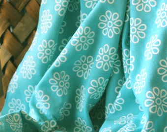 "Aqua and White Vintage Cotton Fabric, 3 1/2 yards by 44"" wide"