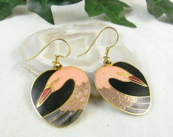 Fun and Fantastic Stamped Roman Vintage Heart Shaped Swan Pierced Style Earrings Featuring Enamel  Inlay