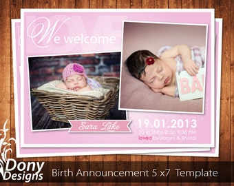 BUY 1 GET 1 FREE Birth Announcement - Neutral Baby Announcement Card - Photoshop Template Instant Download: cardcode-153