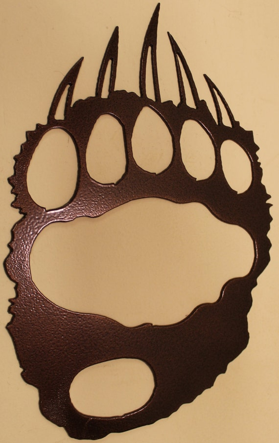Bear track metal wall art home decor by holtshomedecor on etsy for Bear home decorations
