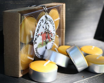 Set of 12 Pure Beeswax TEA LIGHTS in gift box Farmer's Daughter, hygge decor, Pure Beeswax Candles, 1 DOZEN tealights