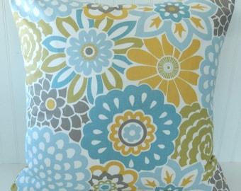 Blue Yellow Floral Pillow Covers - Throw Pillow - Decorative Pillow - Toss Pillow - Accent Couch Pillow - Beach Cottage Pillows - 18x18