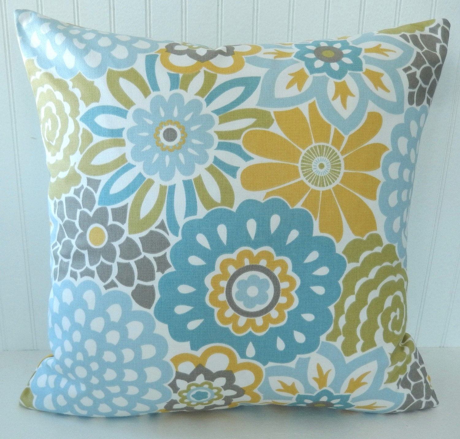 Blue Yellow Floral Pillow Covers Throw Pillow Decorative