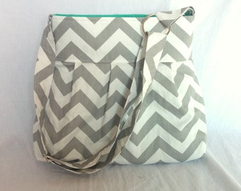 READY TO SHIP  Chevron diaper bag or purse medium in grey chevron and mint green lining with adjustable strap and elastic bottle pockets