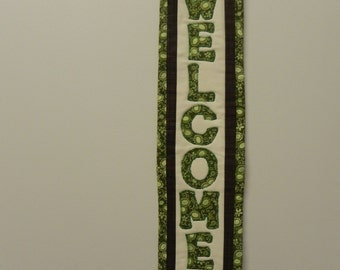 """John Deere quilted 6x29"""" welcome wallhanging, housewarming gift"""