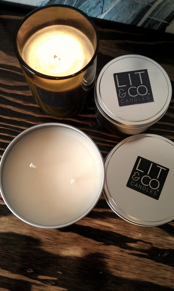 Cider+Chestnut Natural Soy Candle in 16oz Travel Tin Candle  Fall Candle