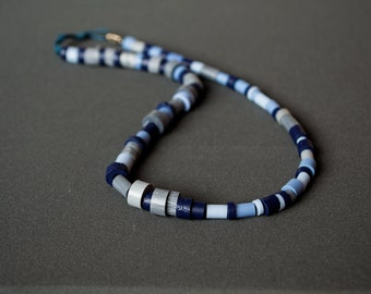 Polymer clay necklace Beadwork necklace Blue necklace Navy blue necklace Silver necklace Tribal necklace Casual necklace Boho necklace Indie